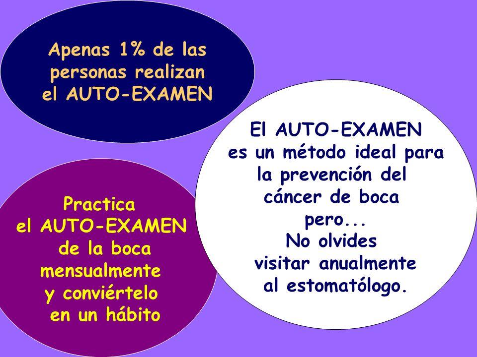 Practica el AUTO-EXAMEN de la boca mensualmente y conviértelo en un hábito Apenas 1% de las personas realizan el AUTO-EXAMEN El AUTO-EXAMEN es un méto