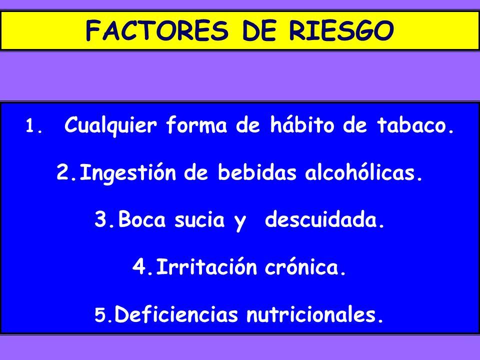 FACTORES DE RIESGO 1. Cualquier forma de hábito de tabaco. 2.Ingestión de bebidas alcohólicas. 3.Boca sucia y descuidada. 4.Irritación crónica. 5. Def