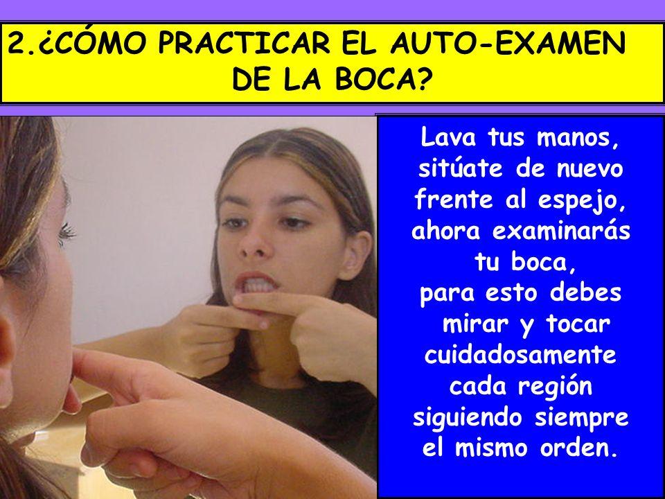 2.¿CÓMO PRACTICAR EL AUTO-EXAMEN DE LA BOCA? Lava tus manos, sitúate de nuevo frente al espejo, ahora examinarás tu boca, para esto debes mirar y toca