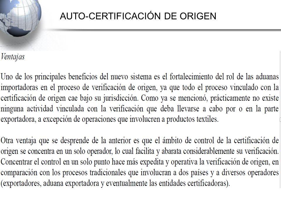 AUTO-CERTIFICACIÓN DE ORIGEN