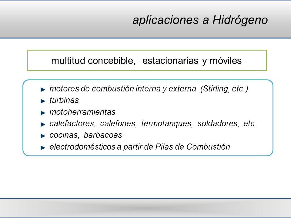 aplicaciones a Hidrógeno motores de combustión interna y externa (Stirling, etc.) turbinas motoherramientas calefactores, calefones, termotanques, sol