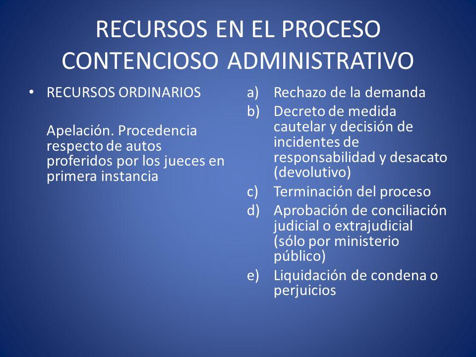 RECURSOS EN EL PROCESO CONTENCIOSO ADMINISTRATIVO RECURSOS ORDINARIOS Apelación. Procedencia respecto de autos proferidos por los jueces en primera in
