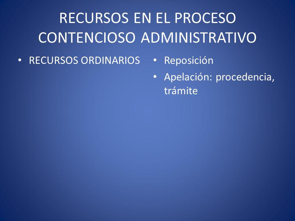 RECURSOS EN EL PROCESO CONTENCIOSO ADMINISTRATIVO RECURSOS ORDINARIOS Reposición Apelación: procedencia, trámite