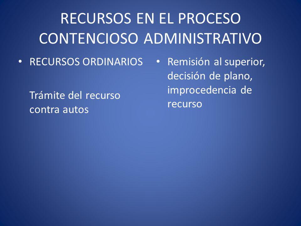 RECURSOS EN EL PROCESO CONTENCIOSO ADMINISTRATIVO RECURSOS ORDINARIOS Trámite del recurso contra autos Remisión al superior, decisión de plano, improc