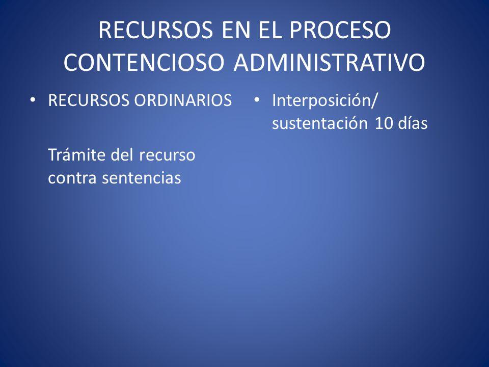RECURSOS EN EL PROCESO CONTENCIOSO ADMINISTRATIVO RECURSOS ORDINARIOS Trámite del recurso contra sentencias Interposición/ sustentación 10 días