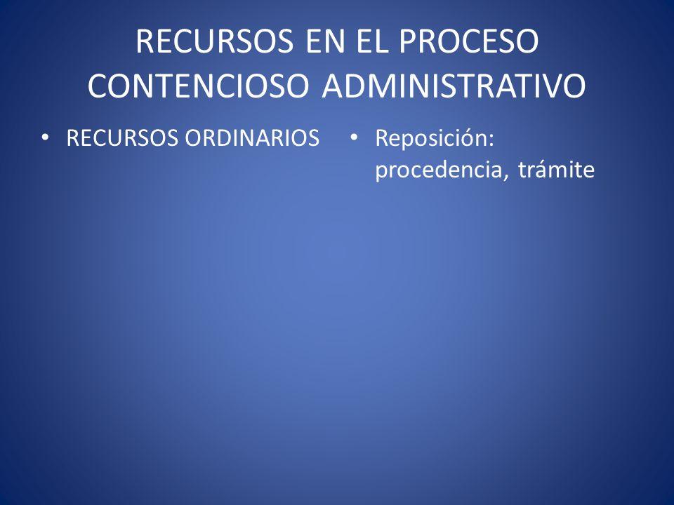 RECURSOS EN EL PROCESO CONTENCIOSO ADMINISTRATIVO RECURSOS ORDINARIOS Reposición: procedencia, trámite