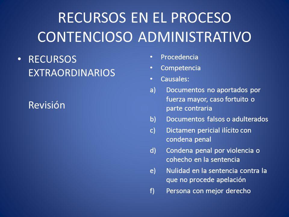 RECURSOS EN EL PROCESO CONTENCIOSO ADMINISTRATIVO RECURSOS EXTRAORDINARIOS Revisión Procedencia Competencia Causales: a)Documentos no aportados por fu