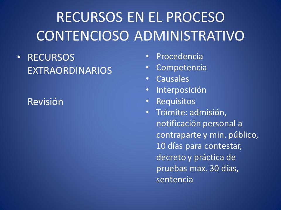 RECURSOS EN EL PROCESO CONTENCIOSO ADMINISTRATIVO RECURSOS EXTRAORDINARIOS Revisión Procedencia Competencia Causales Interposición Requisitos Trámite: