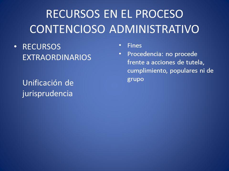 RECURSOS EN EL PROCESO CONTENCIOSO ADMINISTRATIVO RECURSOS EXTRAORDINARIOS Unificación de jurisprudencia Fines Procedencia: no procede frente a accion