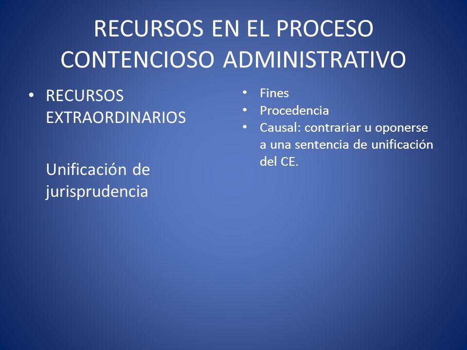 RECURSOS EN EL PROCESO CONTENCIOSO ADMINISTRATIVO RECURSOS EXTRAORDINARIOS Unificación de jurisprudencia Fines Procedencia Causal: contrariar u oponer