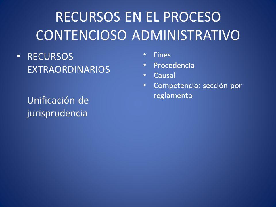 RECURSOS EN EL PROCESO CONTENCIOSO ADMINISTRATIVO RECURSOS EXTRAORDINARIOS Unificación de jurisprudencia Fines Procedencia Causal Competencia: sección