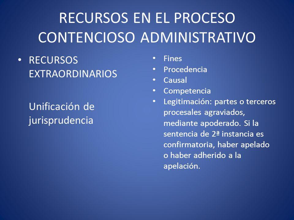 RECURSOS EN EL PROCESO CONTENCIOSO ADMINISTRATIVO RECURSOS EXTRAORDINARIOS Unificación de jurisprudencia Fines Procedencia Causal Competencia Legitima