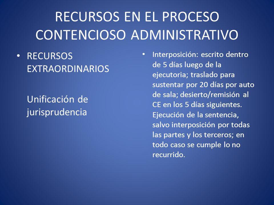 RECURSOS EN EL PROCESO CONTENCIOSO ADMINISTRATIVO RECURSOS EXTRAORDINARIOS Unificación de jurisprudencia Interposición: escrito dentro de 5 días luego