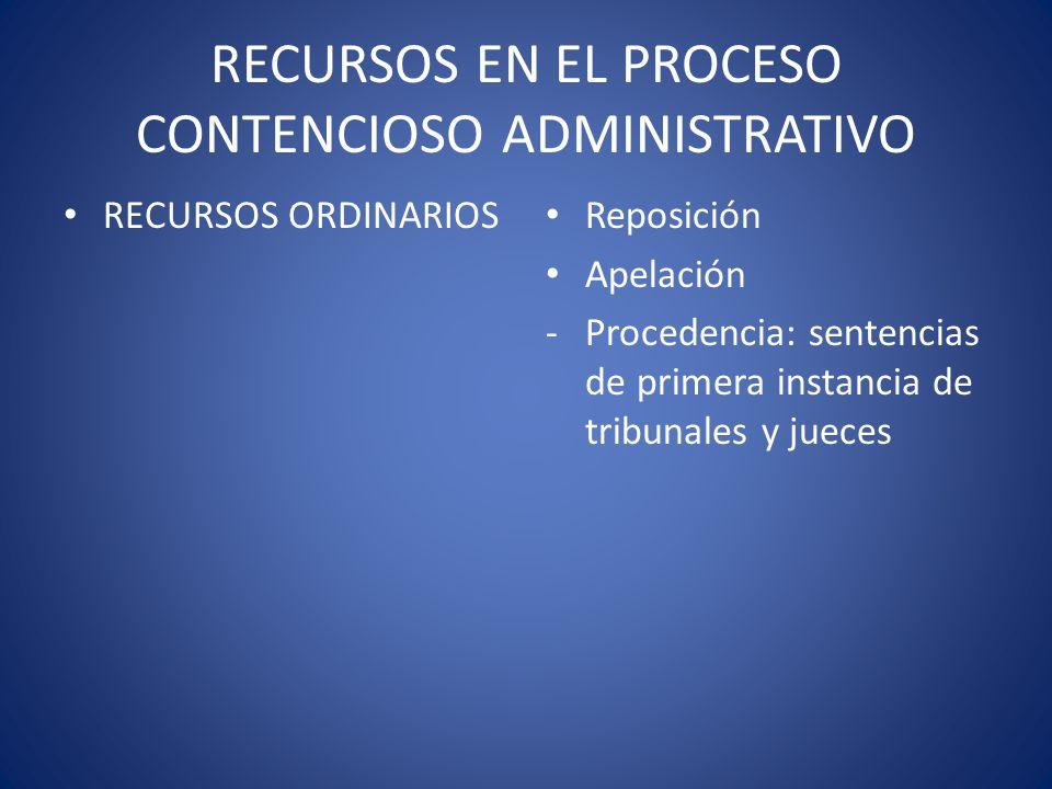 RECURSOS EN EL PROCESO CONTENCIOSO ADMINISTRATIVO RECURSOS ORDINARIOS Reposición Apelación -Procedencia: sentencias de primera instancia de tribunales