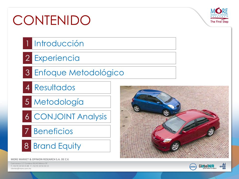 BENEFICIOS Identificar las áreas de oportunidad de los nuevos vehículos Confirmar el perfil del comprador Determinar la sensibilidad al precio Dirigir la estrategia de comunicación Asegurar la preferencia por los vehículos Medir la fuerza de la marca (brand equity)