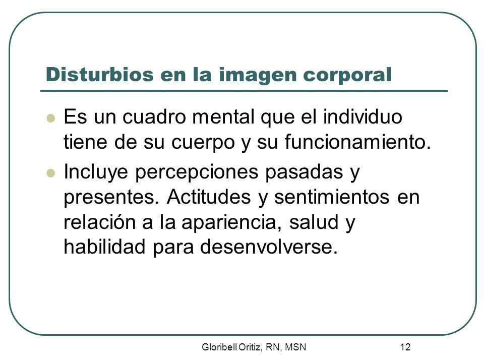 Gloribell Oritiz, RN, MSN 13 Disturbios en la imagen corporal Surgen cuando la persona no logra percibir o adaptarse a los cambios.