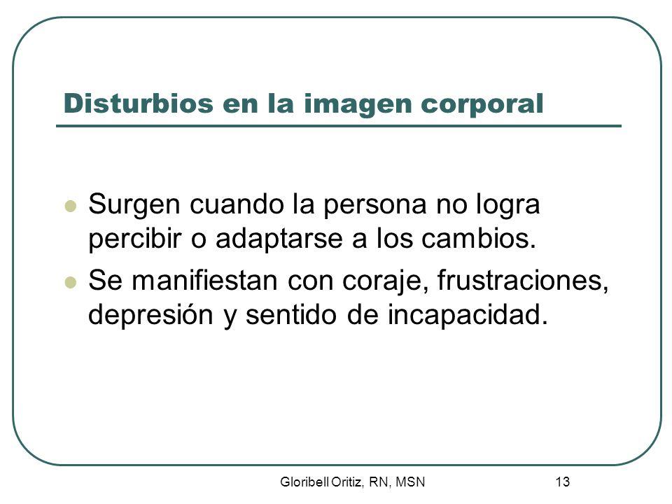 Gloribell Oritiz, RN, MSN 14 Disturbios en la imagen corporal Rehúsa participar del cuidado y puede exhibir conducta de auto destrucción.