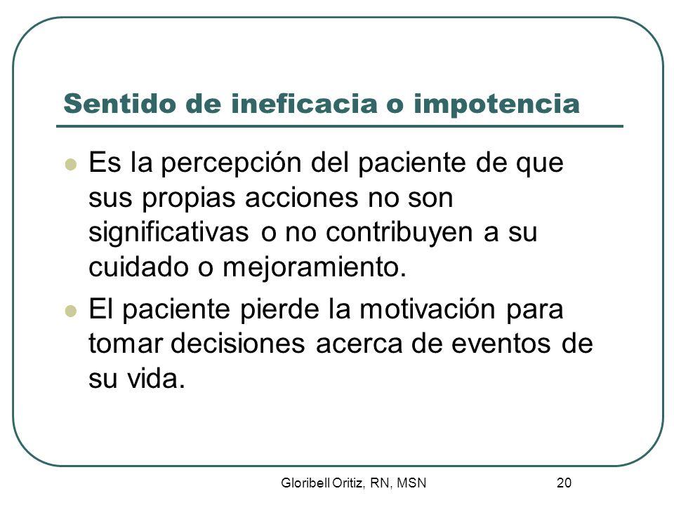 Gloribell Oritiz, RN, MSN 20 Sentido de ineficacia o impotencia Es la percepción del paciente de que sus propias acciones no son significativas o no contribuyen a su cuidado o mejoramiento.