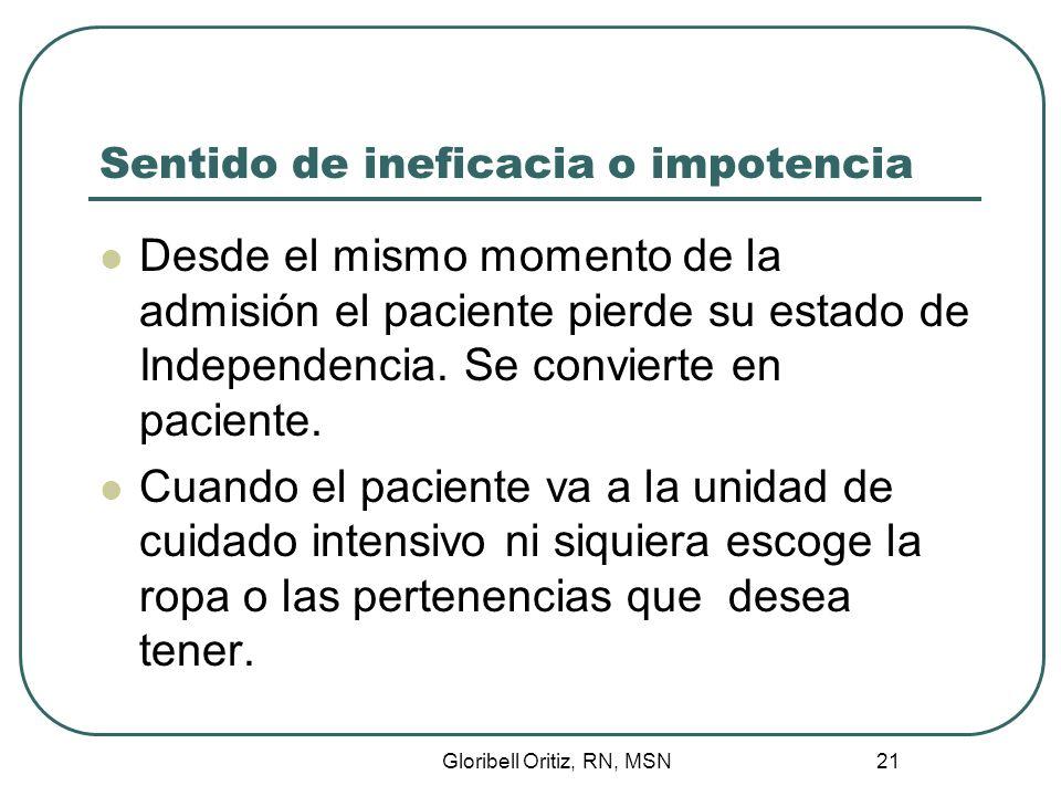 Gloribell Oritiz, RN, MSN 21 Sentido de ineficacia o impotencia Desde el mismo momento de la admisión el paciente pierde su estado de Independencia.