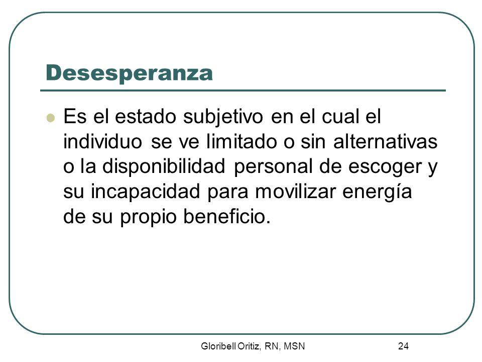 Gloribell Oritiz, RN, MSN 24 Desesperanza Es el estado subjetivo en el cual el individuo se ve limitado o sin alternativas o la disponibilidad personal de escoger y su incapacidad para movilizar energía de su propio beneficio.