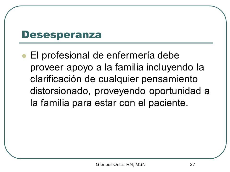 Gloribell Oritiz, RN, MSN 27 Desesperanza El profesional de enfermería debe proveer apoyo a la familia incluyendo la clarificación de cualquier pensamiento distorsionado, proveyendo oportunidad a la familia para estar con el paciente.