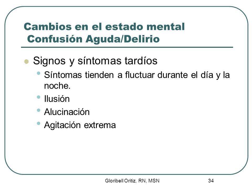 Gloribell Oritiz, RN, MSN 35 Cambios en el estado mental Confusión Aguda/Delirio Causas Aumento de probabilidad en pacientes de mayor edad Daño cerebral Medicamentos Inmovilización Ruidos, luces Perdida de noción del tiempo