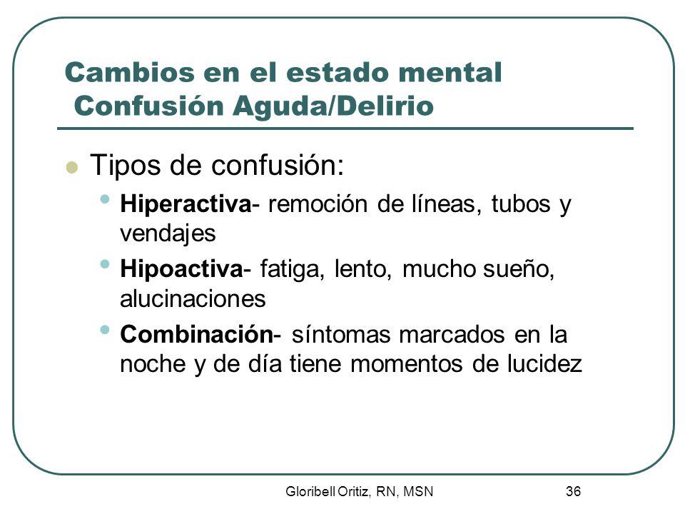 Gloribell Oritiz, RN, MSN 36 Cambios en el estado mental Confusión Aguda/Delirio Tipos de confusión: Hiperactiva- remoción de líneas, tubos y vendajes Hipoactiva- fatiga, lento, mucho sueño, alucinaciones Combinación- síntomas marcados en la noche y de día tiene momentos de lucidez