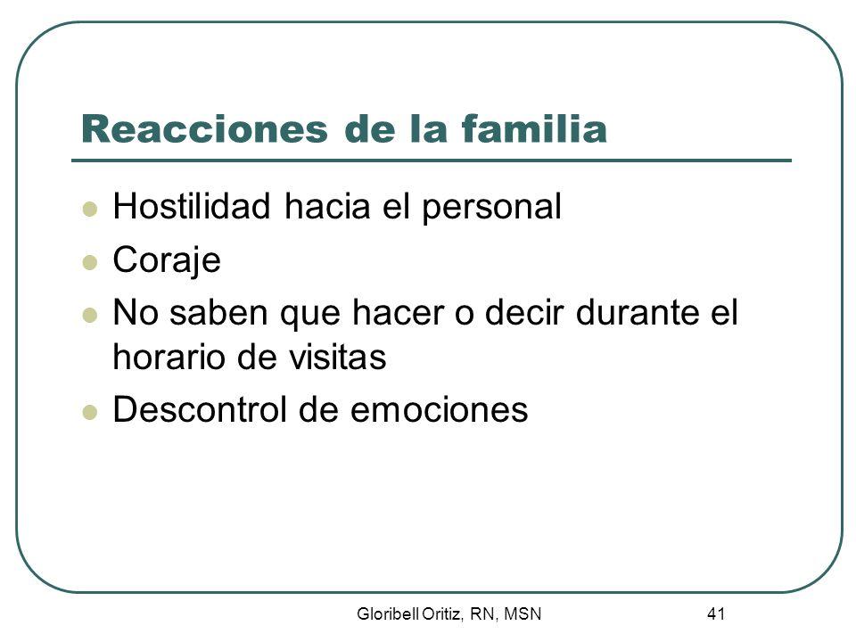 Gloribell Oritiz, RN, MSN 41 Reacciones de la familia Hostilidad hacia el personal Coraje No saben que hacer o decir durante el horario de visitas Descontrol de emociones