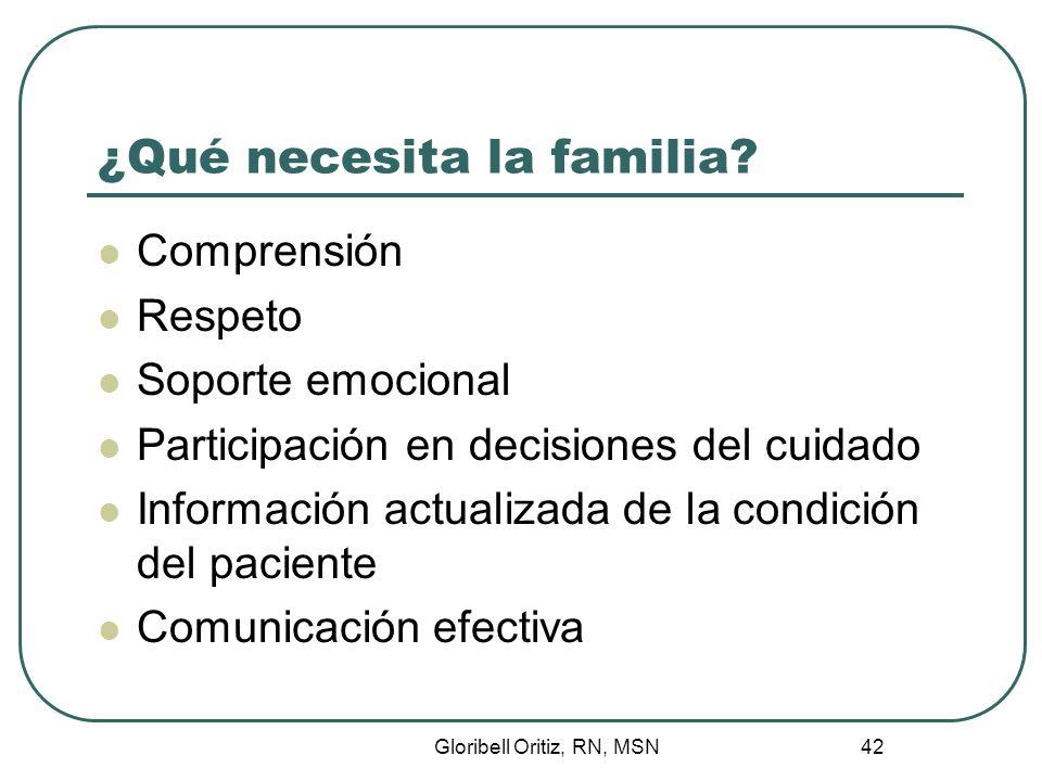 Gloribell Oritiz, RN, MSN 42 ¿Qué necesita la familia.