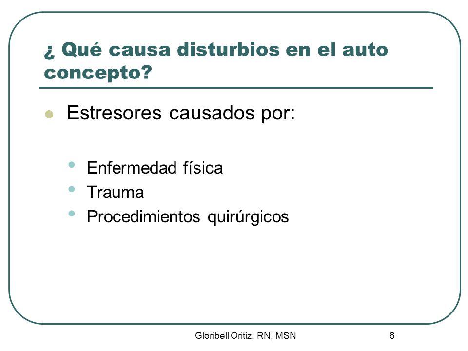 Gloribell Oritiz, RN, MSN 6 ¿ Qué causa disturbios en el auto concepto.