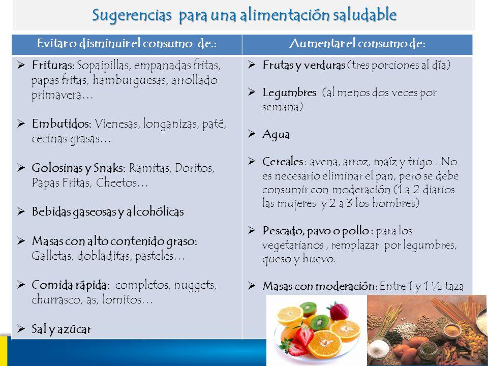 Sugerencias para una alimentación saludable Evitar o disminuir el consumo de.:Aumentar el consumo de: Frituras: Sopaipillas, empanadas fritas, papas f