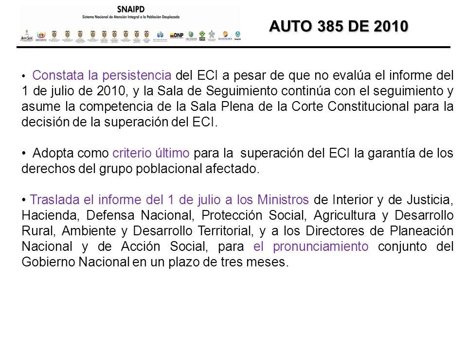 AUTO 385 DE 2010 AUTO 385 DE 2010 Constata la persistencia del ECI a pesar de que no evalúa el informe del 1 de julio de 2010, y la Sala de Seguimient
