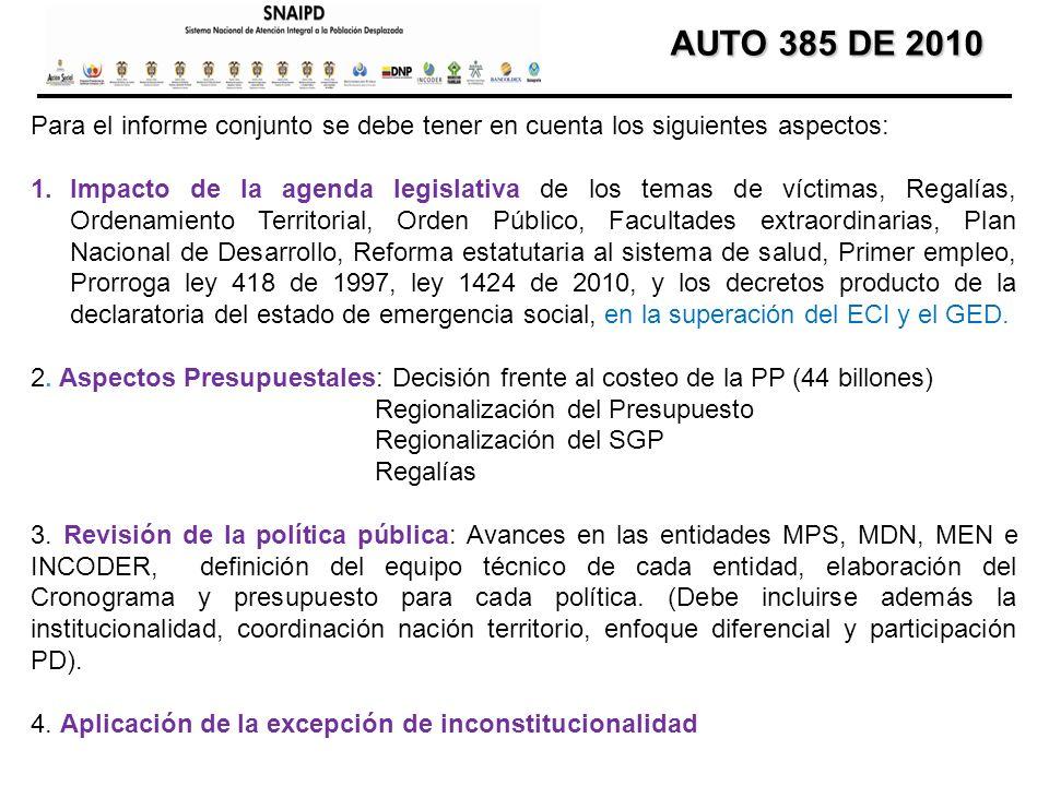 AUTO 385 DE 2010 AUTO 385 DE 2010 Para el informe conjunto se debe tener en cuenta los siguientes aspectos: 1.Impacto de la agenda legislativa de los