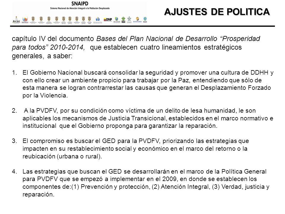 AJUSTES DE POLITICA AJUSTES DE POLITICA capítulo IV del documento Bases del Plan Nacional de Desarrollo Prosperidad para todos 2010-2014, que establec