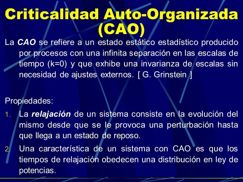 Criticalidad Auto-Organizada (CAO) La CAO se refiere a un estado estático estadístico producido por procesos con una infinita separación en las escala