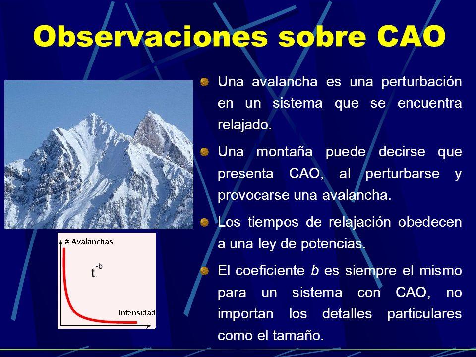 Observaciones sobre CAO Una avalancha es una perturbación en un sistema que se encuentra relajado. Una montaña puede decirse que presenta CAO, al pert