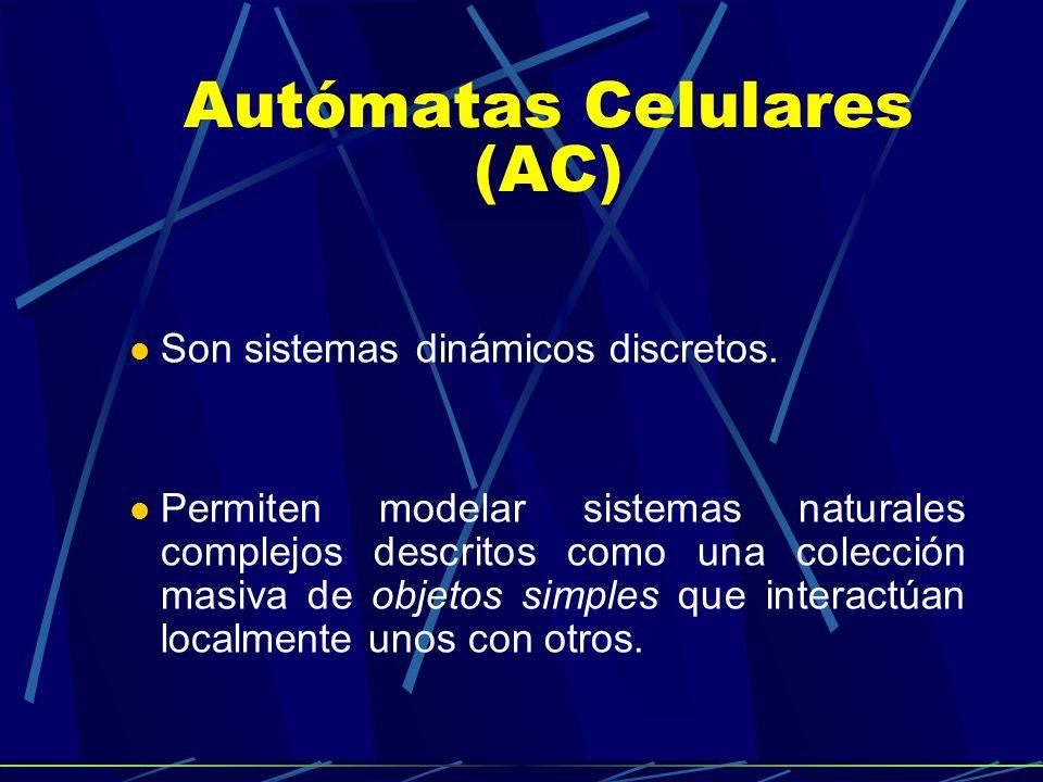 Autómatas Celulares (AC) Son sistemas dinámicos discretos. Permiten modelar sistemas naturales complejos descritos como una colección masiva de objeto