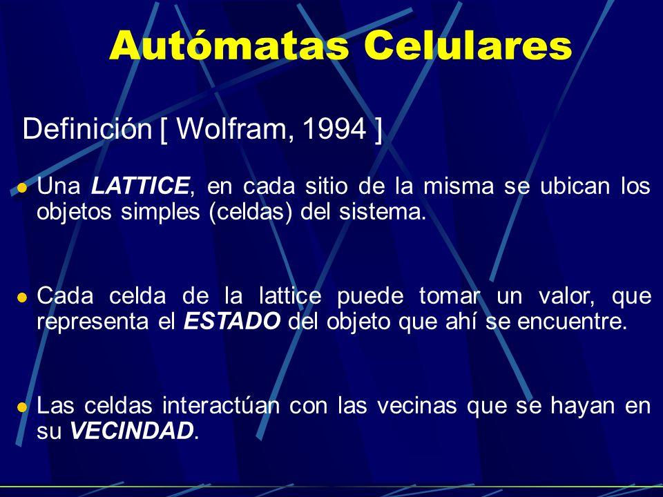 Autómatas Celulares Definición [ Wolfram, 1994 ] Una LATTICE, en cada sitio de la misma se ubican los objetos simples (celdas) del sistema. Cada celda
