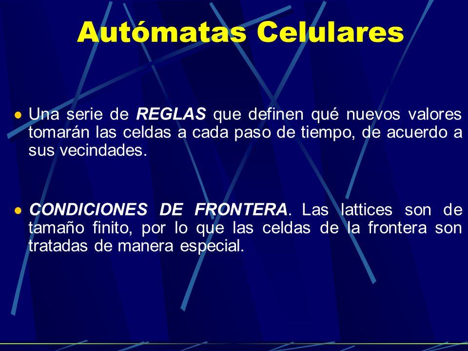 Autómatas Celulares Una serie de REGLAS que definen qué nuevos valores tomarán las celdas a cada paso de tiempo, de acuerdo a sus vecindades. CONDICIO