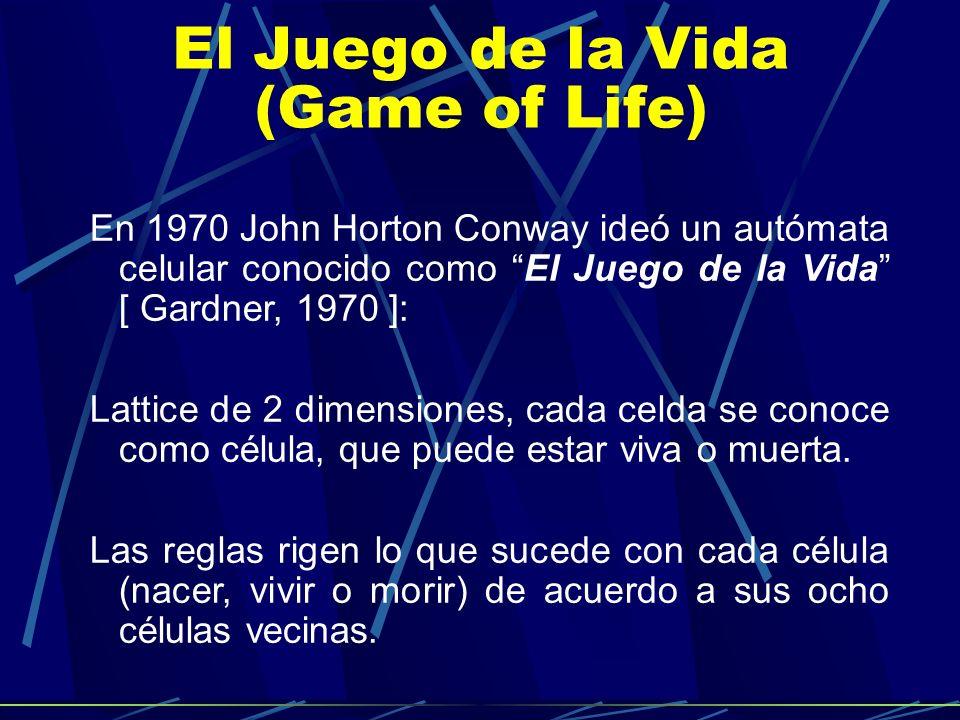 Reglas Una célula viva permanecerá viva en el siguiente paso de tiempo si tiene dos o tres células vecinas vivas, en cualquier otro caso morirá.
