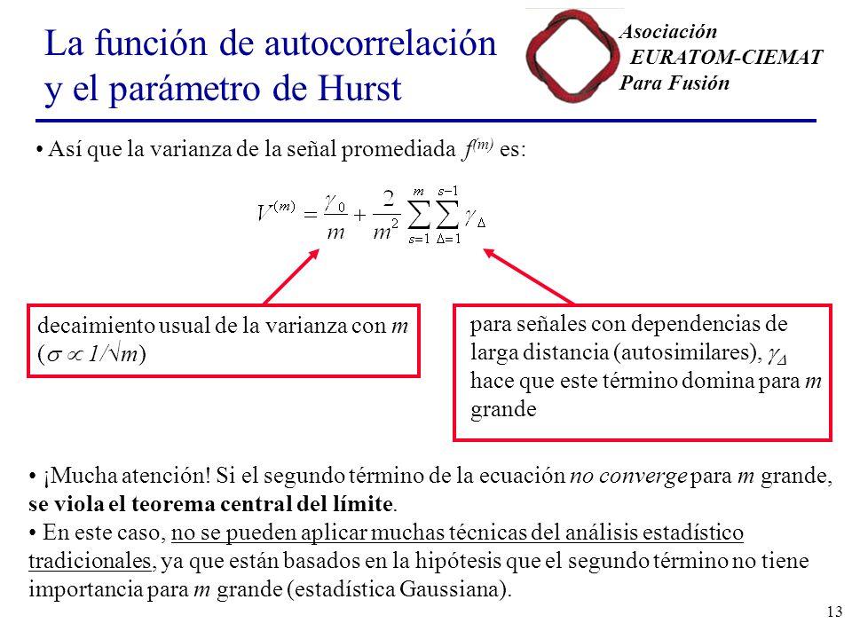 Asociación EURATOM-CIEMAT Para Fusión 13 La función de autocorrelación y el parámetro de Hurst Así que la varianza de la señal promediada f (m) es: decaimiento usual de la varianza con m ( 1/m) para señales con dependencias de larga distancia (autosimilares), hace que este término domina para m grande ¡Mucha atención.