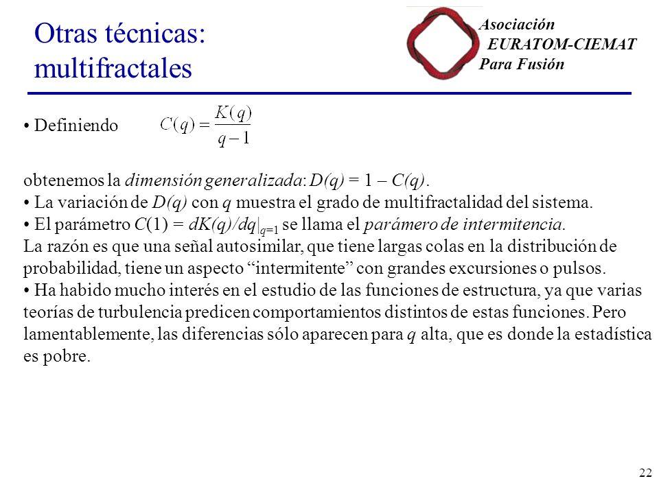 Asociación EURATOM-CIEMAT Para Fusión 22 Otras técnicas: multifractales Definiendo obtenemos la dimensión generalizada: D(q) = 1 – C(q).