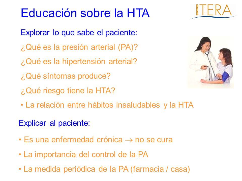 Explorar lo que sabe el paciente: ¿Qué es la presión arterial (PA)? ¿Qué es la hipertensión arterial? ¿Qué síntomas produce? ¿Qué riesgo tiene la HTA?