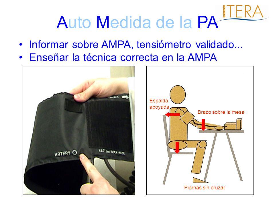 Auto Medida de la PA Informar sobre AMPA, tensiómetro validado... Enseñar la técnica correcta en la AMPA Brazo sobre la mesa Piernas sin cruzar Espald