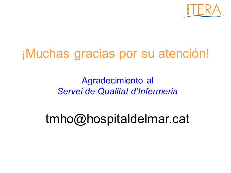¡Muchas gracias por su atención! Agradecimiento al Servei de Qualitat dInfermeria tmho@hospitaldelmar.cat