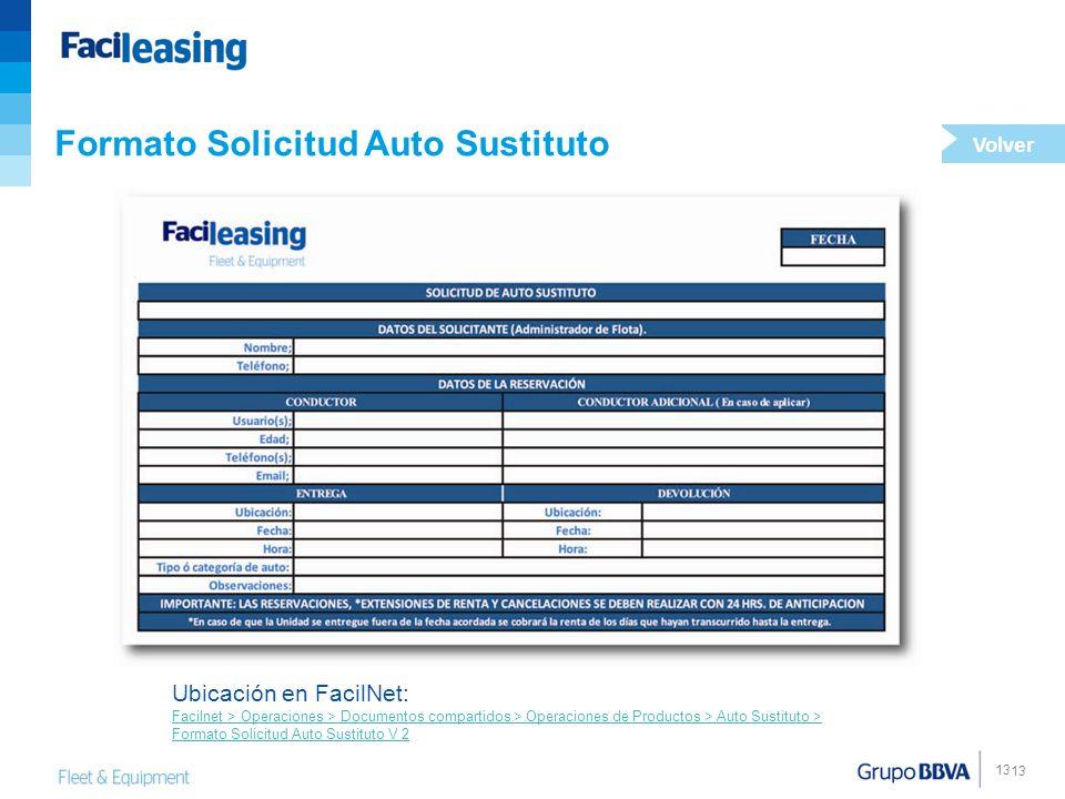 13 Formato Solicitud Auto Sustituto Ubicación en FacilNet: Facilnet > Operaciones > Documentos compartidos > Operaciones de Productos > Auto Sustituto