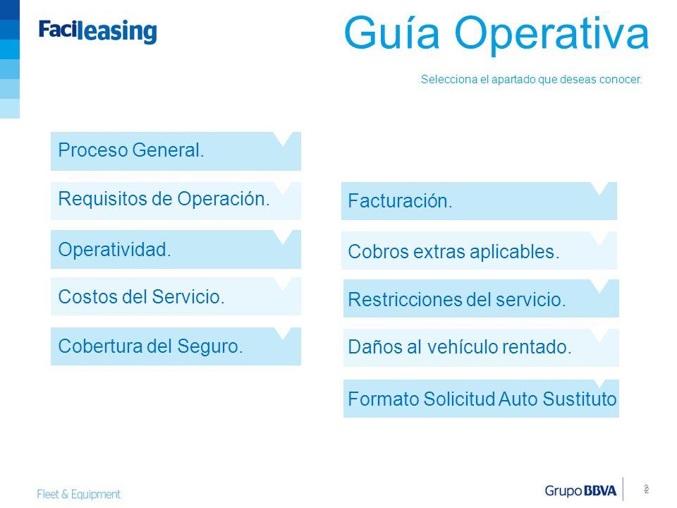 2 2 Guía Operativa Proceso General. Requisitos de Operación. Operatividad. Costos del Servicio. Cobertura del Seguro. Facturación. Cobros extras aplic