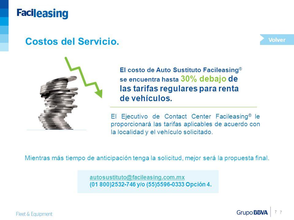 7 7 Costos del Servicio. Mientras más tiempo de anticipación tenga la solicitud, mejor será la propuesta final. El costo de Auto Sustituto Facileasing