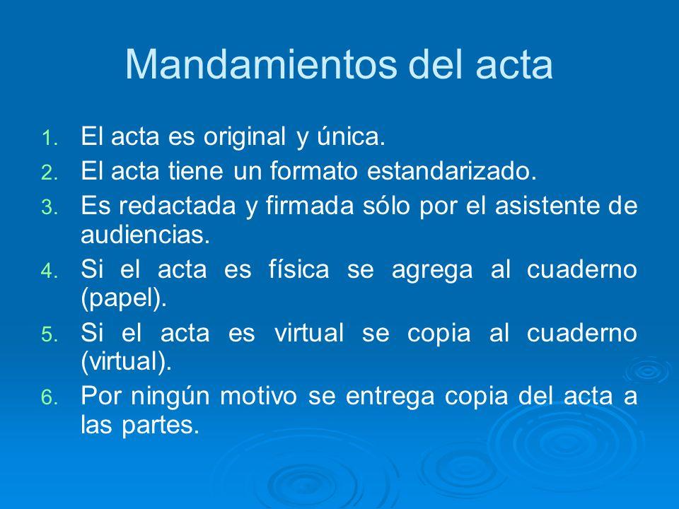 Mandamientos del acta 1. 1. El acta es original y única. 2. 2. El acta tiene un formato estandarizado. 3. 3. Es redactada y firmada sólo por el asiste