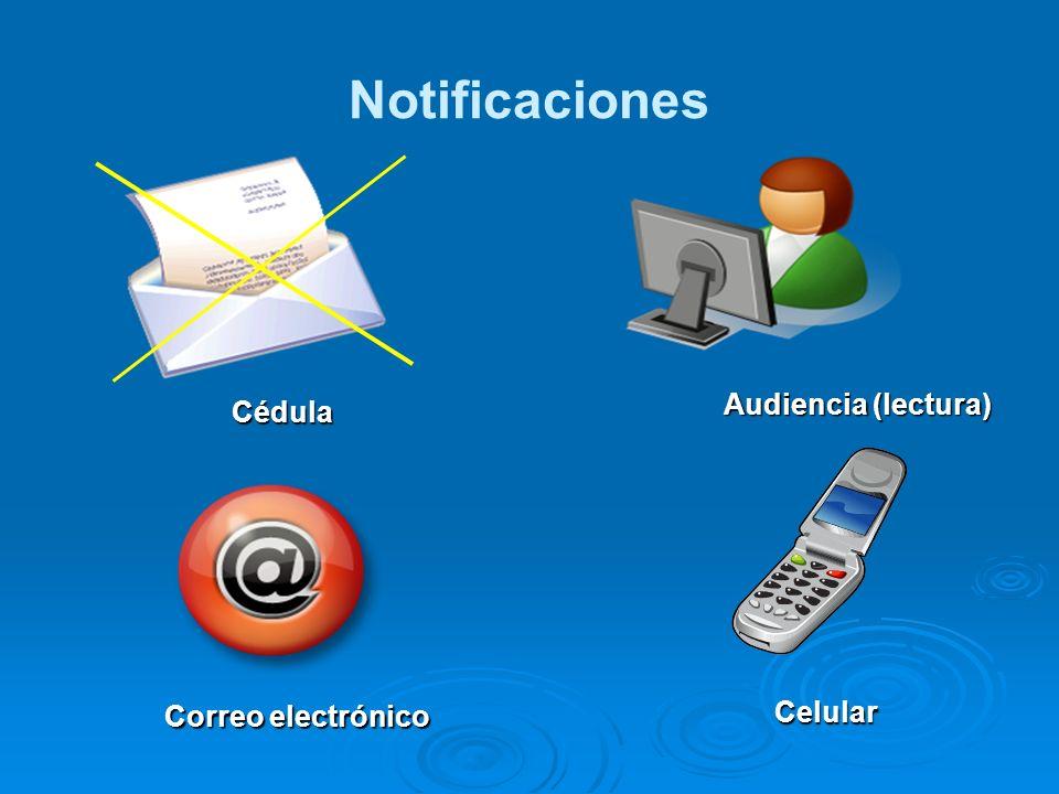 Notificaciones Cédula Audiencia (lectura) Correo electrónico Celular